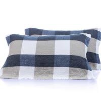 沐凡 纱布枕巾纯棉 一对2条装加厚柔软透气情侣枕头巾 褶皱格蓝色一对 50*75cm